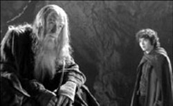 NEW LINE - LORDING OVER THE COMPETITION The Lord of - the Rings: The Fellowship of the Ring earned 13 - Oscar nominations, including one for Best Supporting - Actor Ian McKellen (left, with Elijah Wood)