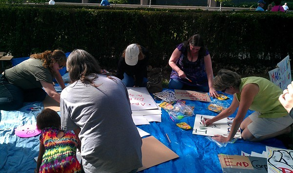 Making signs at the art station on Oct. 8
