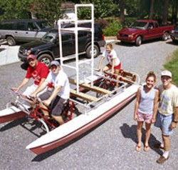 RADOK - Mark Sleeper (far right) w/ Ian Sleeper, Kevin Mills, - Kera Jenkins & Kelsey Sleeper built their  eco-friendly, - human-powered water vehicle for this weekend's - Catawba River Romp.