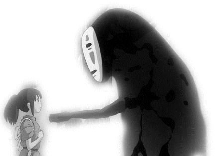 MATERIAL GIRL Human child Chihiro meets the ethereal No-Face in Spirited Away (Photo: Disney)