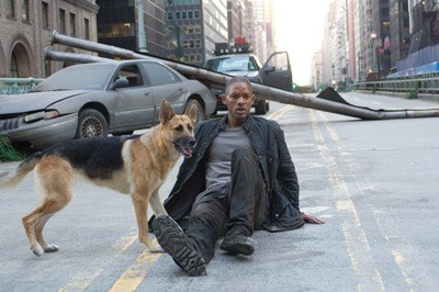 MEAN STREETS: Robert Neville (Will Smith) and Sam hit the road to escape from murderous mutants in I Am Legend. - BARRY WETCHER / WARNER BROS.