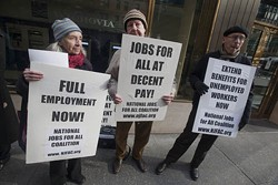 RICHARD B. LEVINE/NEWSCOM - Members of the National Jobs For All Coalition, the National Organization of Women and their supporters protest for the creation of jobs on Dec. 3.