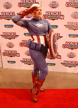 PHOTOS: ANDY SMITH - Memphis cosplayer Laurel Amatangelo- Whitten gets patriotic with this version of Captain America.