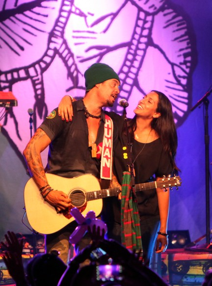 Michael Franti with his girlfriend, Sara Agah.