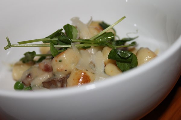 MOREL GNOCCI, pea shoots, bacon