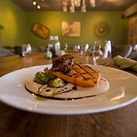 Mushroom bacon, atop Fern's famous maple-glazed pumpkin filet