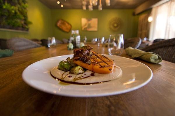 Mushroom bacon, atop Fern's famous maple-glazed pumpkin filet - MEREDITH JONES