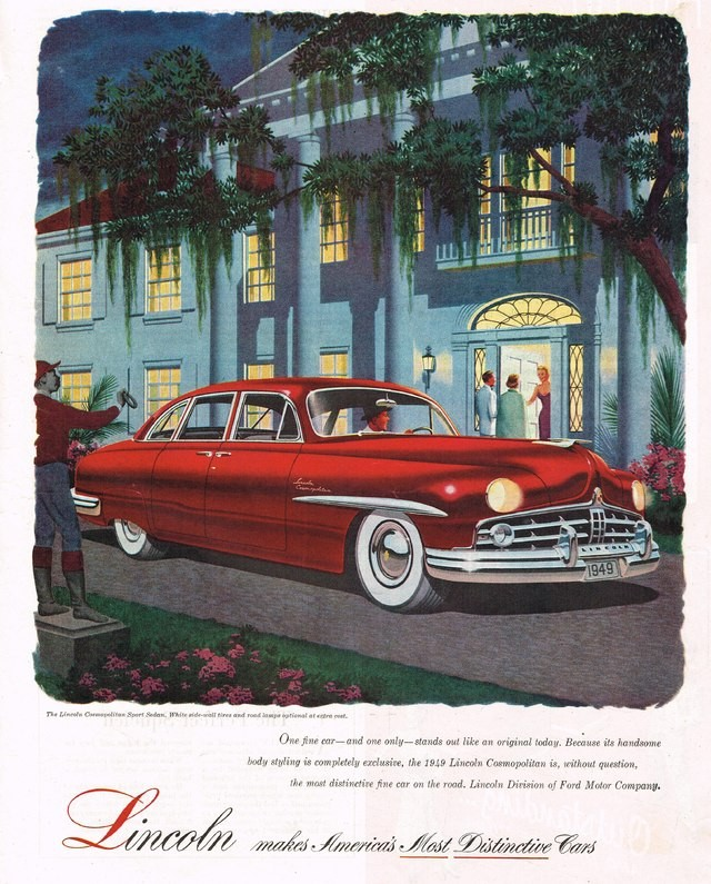 NASCAR master Jim Roper won Strictly Stock in a 1949 Lincoln, much like the one in this vintage ad