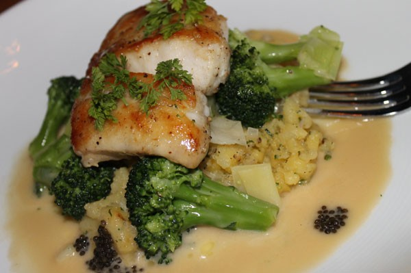 NC GROUPER with crushed yukon potatoes, broccoli and leeks, american caviar, champagne buerre blanc