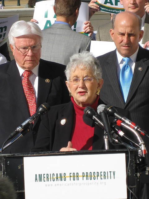 NCs least favorite dimwit, Rep. Virginia Foxx protesting the Stimulus