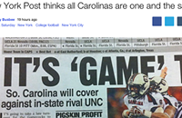 <em>New York Post</em> goof suggests North and South Carolina are one state