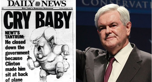 Newt Gingrich and one of the most famous headlines written about his time as Speaker of the House