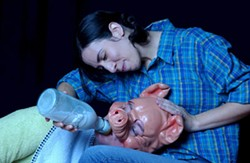 DONNA BISE - Nicia Carla (Fern) feeds Carver Johns (Wilbur) in CT's Charlotte's Web.