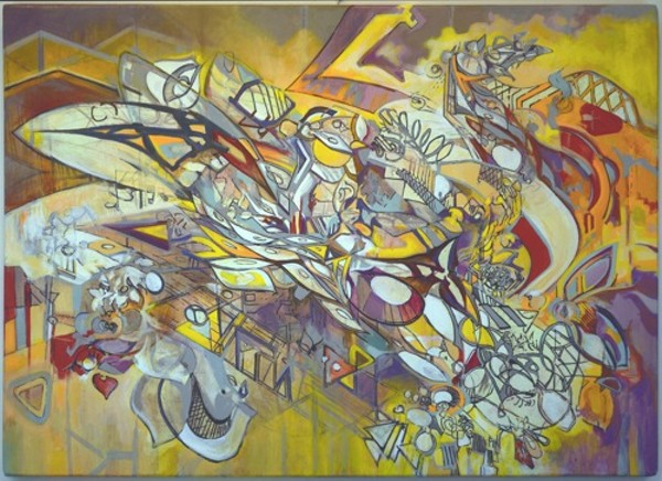 """Nick Bloomberg, """"Sphinx (light-Blues),"""" acrylic on canvas, 36-inch x 26-inch"""