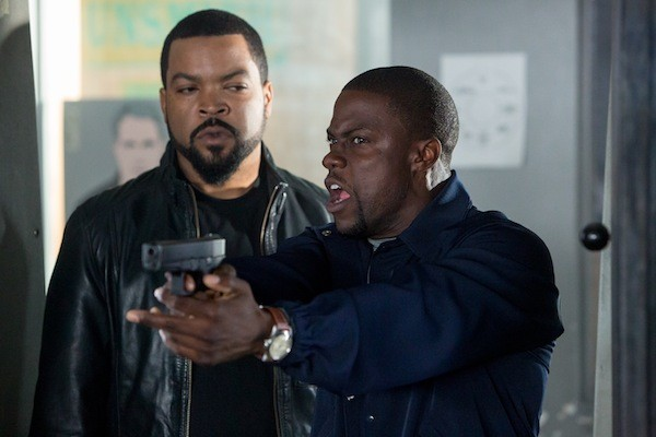 NOT A HOT SHOT: James (Ice Cube, left) learns that Ben (Kevin Hart) isn't exactly at home on the shooting range in Ride Along. (Photo: Universal)