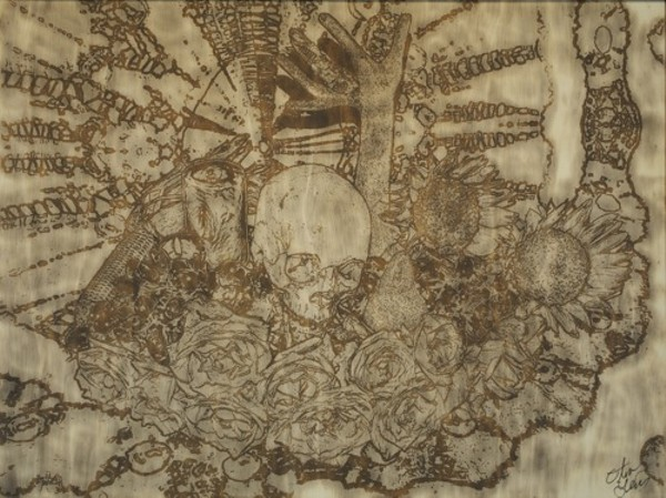 """Oliver Lewis, """"Holiday,"""" 40-inch x 30-inch, photograph/chemically charred wood panel"""