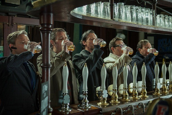 ON TAP: Martin Freeman, Paddy Considine, Simon Pegg, Nick Frost and Eddie Marsan in The World's End (Photo: Focus Features)