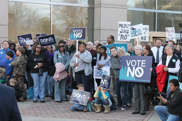 Opposition to the nondiscrimination ordinance held a rally outside Government Center before the City Council meeting - KIMBERLY LAWSON