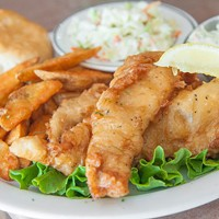 Perfect: Beer-battered haddock with potato wedges.