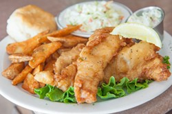 JUSTIN DRISCOLL - Perfect: Beer-battered haddock with potato wedges.