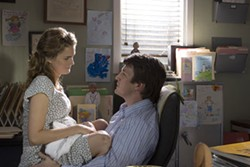 ALAN MARKFIELD / FOX SEARCHLIGHT - PHYSICAL EXAMINATION: Pregnant Jenna (Keri Russell) has an affair with her doctor (Nathan Fillion) in Waitress