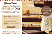 Get $1.50 cheesecake at The Cheesecake Factory