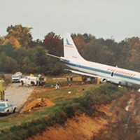Piedmont Airlines Flight 467, seen here after slamming nose-first into railroad tracks 440 feet past the runway.