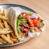 Pork gyro with baked fries