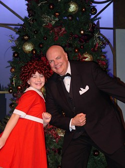 THEATRE CHARLOTTE - POVERTY BE DAMNED: Annie (Hannah Gundersheim) and Oliver Warbucks (Steve Bryan)