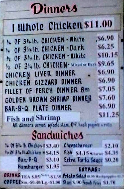 Prices have changed since the 60s, but the menu hasnt.