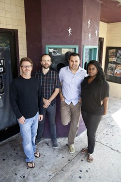 JEFF HAHNE - PROMO SHOT: Gregg McCraw, Bo White, Tony Arreaza and Sa-Idah Harley gather outside the Neighborhood Theatre.