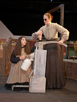 TOM COVINGTON - PUMPING FOR INFORMATION: Helen Keller (Amanda Berkowitz) and Annie Sullivan (Courtney Wright) learn from each other in The Miracle Worker.