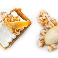 Pumpkin cake with sweet corn ice cream and caramelized popcorn