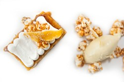 JUSTIN DRISCOLL - Pumpkin cake with sweet corn ice cream and caramelized popcorn