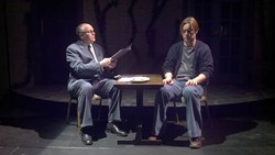 ABBEY PLAYERS/BELMONT COMMUNITY THEATRE - Q&A SESSION: Bob Sweeten (left) interrogates Christopher Donoghue in Rock 'n' Roll.