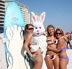 NEWSCOM - RABBIT REDUX: The Easter Bunny gets all the chicks.