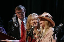 MELINDA SUE GORDON / PICTUREHOUSE - RADIO DAYS G.K. (Garrison Keillor), Yolanda (Meryl Streep) and Lola (Lindsay Lohan) step up to the mic in A Prairie Home Companion