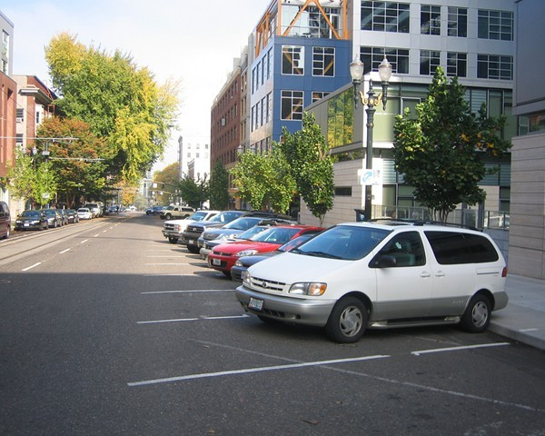Reverse angle parking in Portland, Ore.