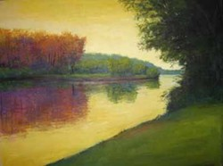 RIVER SUNSET: Painting by David Skinner included in Elder Gallery exhibit.