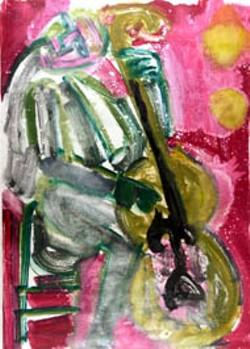 "Romare Bearden's ""Walking Bass (Kansas City): monoprint is on display at Jerald Melberg Gallery Jan. 289-Mar. 5"