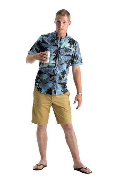 SilverFly | 1111 Metropolitan Ave. Suite 1507 Diamonds Diamond Head Hawaiian print shirt: $79Penguin Solid Basic Short: $55Parke & RonenFlip Flops: $25 - MODEL: BRANDON HERMAN | PHOTO: JIM MCGUIRE | MAKEUP: JAMI SVAY