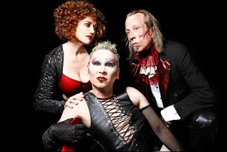 Sandi Sullivan as Magenta, James Ilsley as Frank N Furter, and Brent Wilson as Riff Raff. (Photo credit: Curtis Brown)