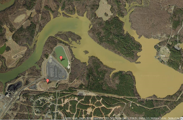Satellite image of the coal ash ponds above Mountain Island Lake
