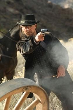 RICHARD FOREMAN / LIONSGATE - SHARP SHOOTER: A dapper Ben Wade (Russell Crowe) blasts away in 3:10 to Yuma