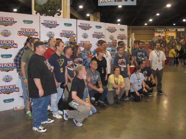 Shelton Drum (kneeling, in gray shirt) and 30 years worth of faithful Heroes sidekicks