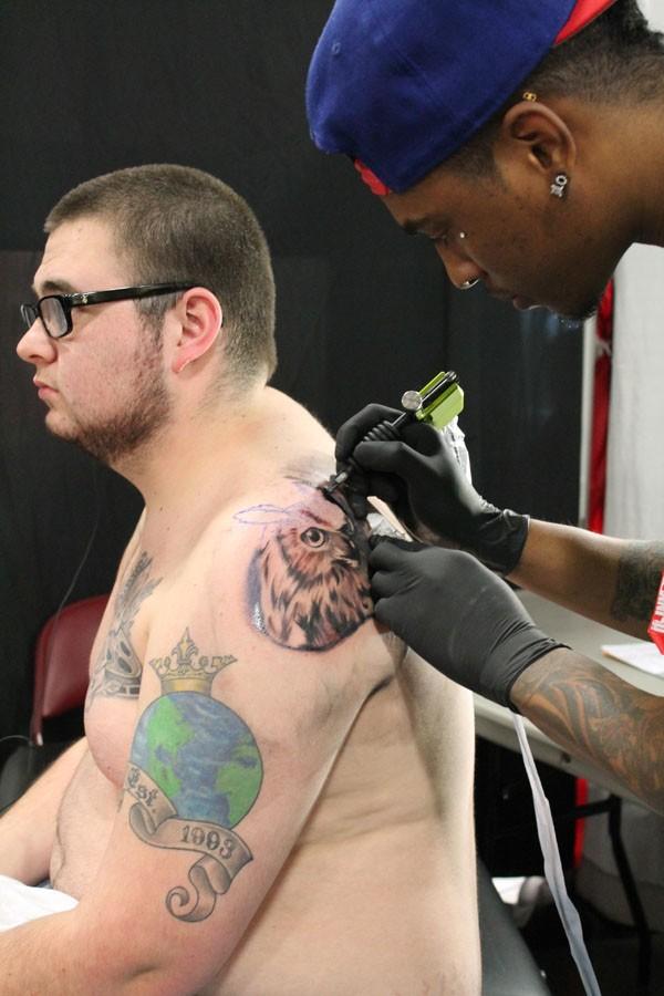 Sherman Patrice, Harlem Hype Tattoo from New York, NY, is turning James Sheedy vision to life.
