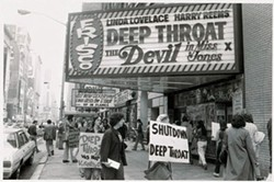 DOCUMENTARY PRODUCTIONS & UNIVERSAL - SIGNS OF THE TIME Protestors gather outside a movie theater playing Deep Throat
