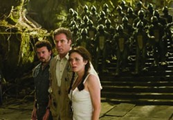 RALPH NELSON / UNIVERSAL - SLEESTAK ATTACK: Will (Danny McBride), Rick (Will Ferrell) and Holly (Anna Friel) meet the enemy in Land of the Lost.