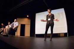 SO, WHAT'S NU?: Jen Silverman addresses the audience gathered at an introductory night for the nuVoices for a nuGeneration festival at Actor's Theatre. (Photo: Grant Baldwin)