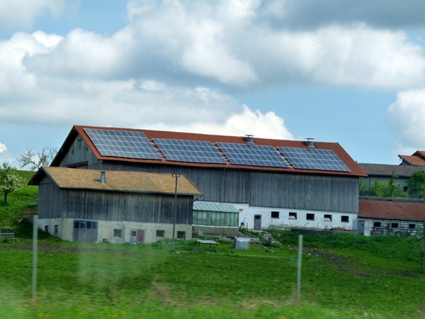 Solar panels somewhere along the Autobahn in Austria.